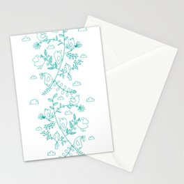 Birds and leaves Stationery Cards