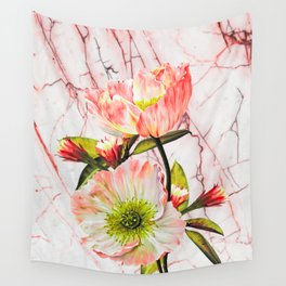 Flowering on pink marble Wall Tapestry