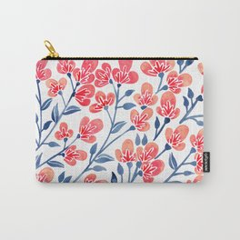 Cherry Blossoms – Melon & Navy Palette Carry-All Pouch