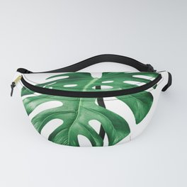 Split leaf philodendron leaf isolated on white Fanny Pack