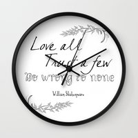 shakespeare Wall Clocks featuring Shakespeare Quote by Pati Designs