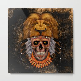 Indian Native Lion Head Sugar Skull Metal Print