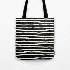 Hand Drawn Stripes on Black Tote Bag