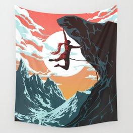 Rock Climbing Girl Vector Art Wall Tapestry