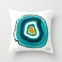 agate Throw Pillows featuring Agate Turquoise  by Xchange Art Studio