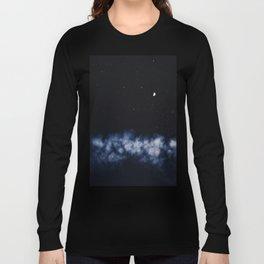 Contrail moon on a night sky Long Sleeve T-shirt