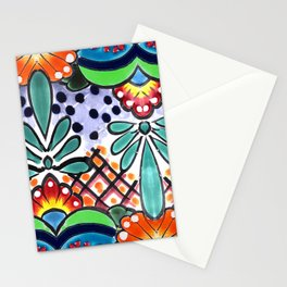 Colorful Talavera, Green Accent, Large, Mexican Tile Design Stationery Cards