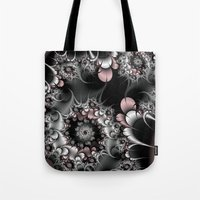novelty Tote Bags featuring Widow's Web Fractal by Moody Muse
