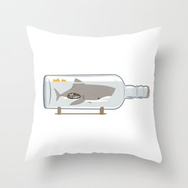 The Shark in a Bottle Throw Pillow