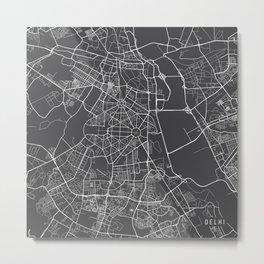 Delhi Map, India - Gray Metal Print