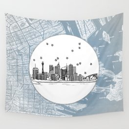 Sydney, New South Wales, Australia City Skyline Illustration Drawing Wall Tapestry