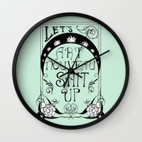 art nouveau Wall Clocks featuring Art Nouveau by Emily Brand