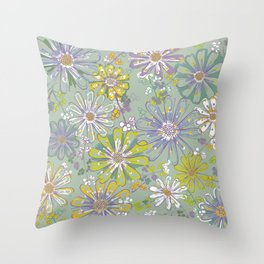 Spring meadow pattern Throw Pillow