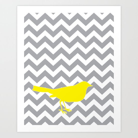 Yellow Bird on Gray Chevron Art Print