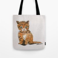whisky Tote Bags featuring Whisky, the Kitty by Gersin@Albatrostudio