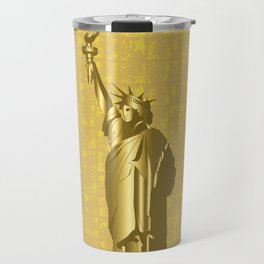 Gold Statue of Liberty on the Gold-leaf Screen Travel Mug