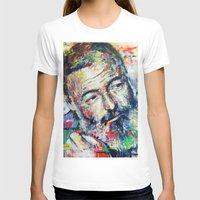 hemingway T-shirts featuring Ernest Hemingway by Marta Zawadzka