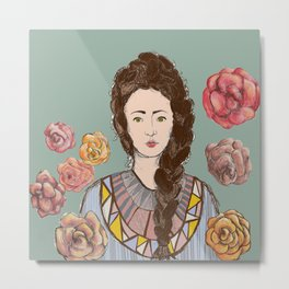 Carmella Roses Portrait Illustration Colorful Art Metal Print