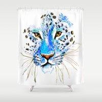 cheetah Shower Curtains featuring Cheetah by Clairenisbet