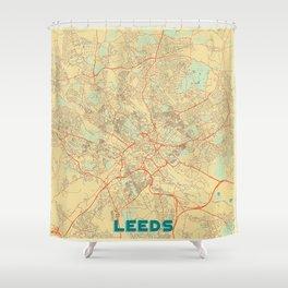Leeds Map Retro Shower Curtain