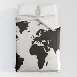 Black Ink World Map Bettbezug