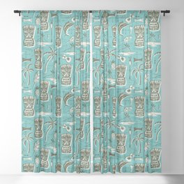 Tropical Tiki - Aqua Sheer Curtain