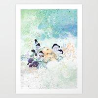 mushroom Art Prints featuring mushroom by ARTION