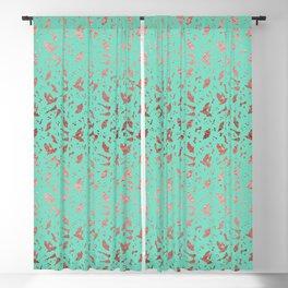 Ombre Rose Gold Metallic Foil Animal Spots on Aqua Blue Blackout Curtain