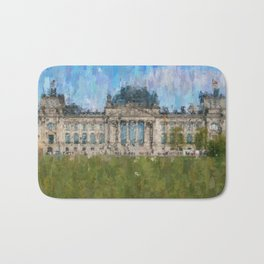 Reichstag, Berlin    /  impressionism style Illustration  / painting abstract landmarks drawing Bath Mat