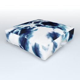 Tie Dye Sunburst Blue Outdoor Floor Cushion