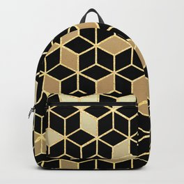 Black And Gold Gradient Cubes Shower Curtain Backpack