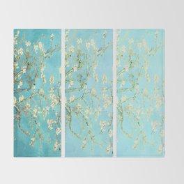 Vincent Van Gogh Almond Blossoms  Panel arT Aqua Seafoam Throw Blanket