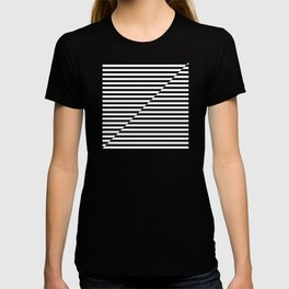 op art - inverted black and white stripes T-shirt