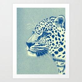Leopard Turquoise feline glance Art Print