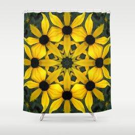 Black-eyed susan kaleidoscope, mandala Shower Curtain