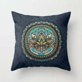 Lotus Mandala - Color Version Throw Pillow