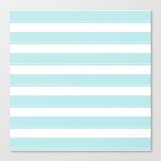 Striped 2 - turquoise stripes on white - #Society6 Canvas Print