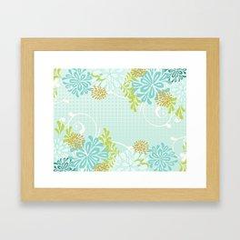 Bold Graphic Mod Mum Modern Chrysanthemum Floral Flower Aqua Blue Framed Art Print