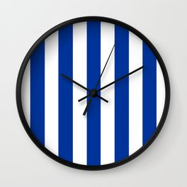 Dark powder blue - solid color - white vertical lines pattern Wall Clock