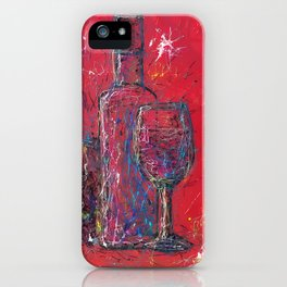 Fun Colorful Modern Wine Art  Fun Colorful Modern Wine Art (wine bottle & glasses) by lena owens iPhone Case