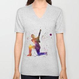 Cricket player batsman silhouette 08 Unisex V-Neck
