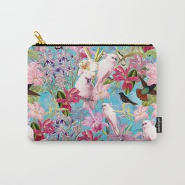 Vintage & Shabby Chic - Pink Tropical Birds and Orchid Flower Pattern Carry-All Pouch