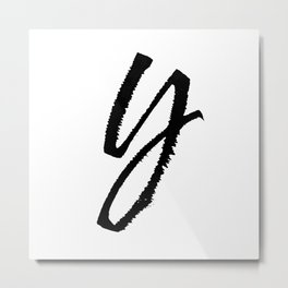 Letter Y Ink Monogram Metal Print