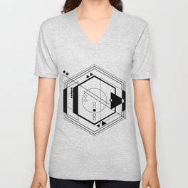 Black white Abstract geometric galaxy  Unisex V-Neck