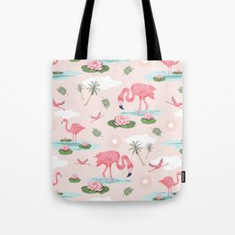 Flamingos and waterlilies Tote Bag