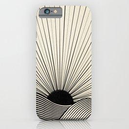 Radiant sun minimal landscape - black lines on neutral iPhone Case