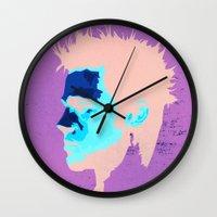 brad pitt Wall Clocks featuring Brad Pitt Digital illustration by Parveen Verma