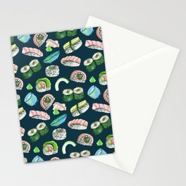 Sushi, Yum! in deep blue Stationery Cards