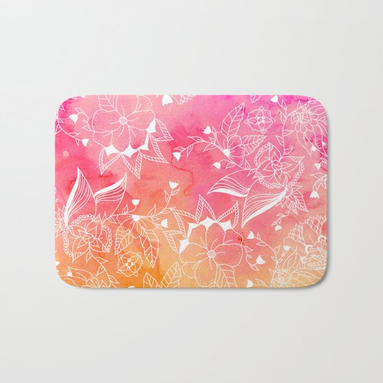 Modern summer pink orange sunset watercolor floral hand drawn illustration Bath Mat
