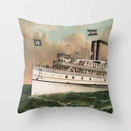 Steamer Rhode Island - Vintage Maritime Print - 1882 Throw Pillow